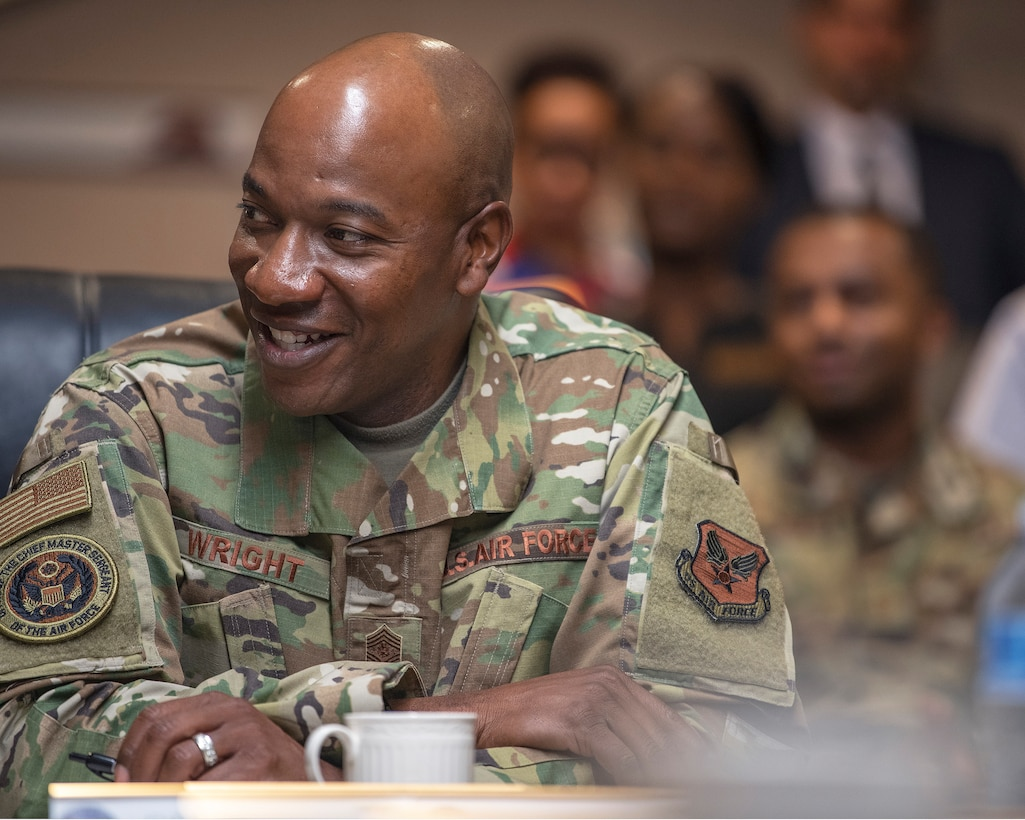 Chief Master Sgt. of the Air Force Kaleth O. Wright attends a mission brief