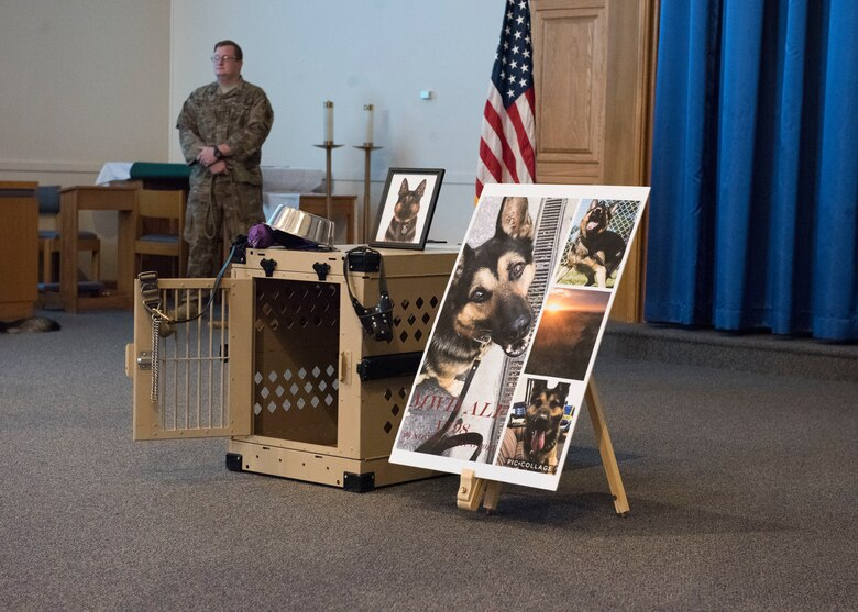 The 366th Security Forces Squadron military working dog handlers held a ceremony to comemorate MWD Alf V198 September 26, 2019, at Mountain Home Air Force Base, Idaho. Alf served for six years in the United States Air Force and during that time achieved great accomplishments in support of the United States of America. (U.S Air Force photo by Senior Airman Tyrell Hall)
