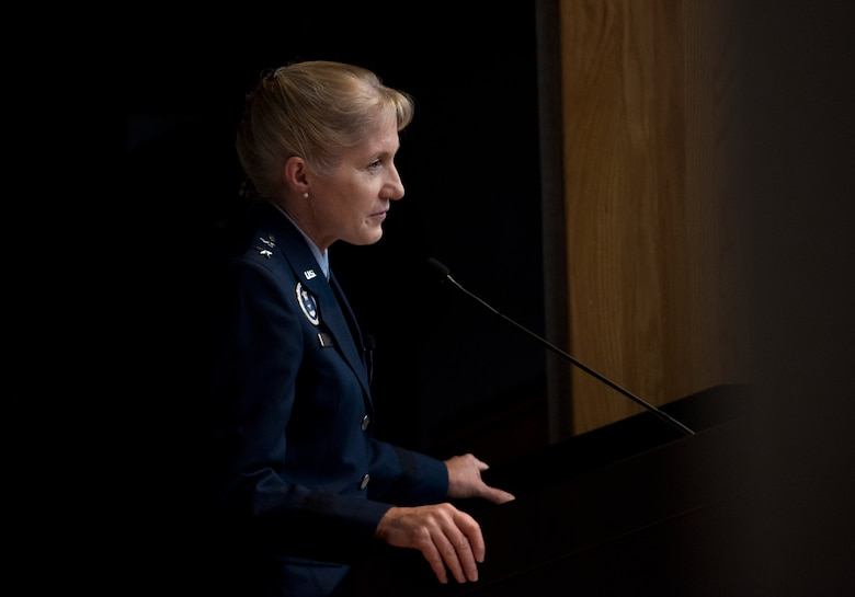 Maj. Gen. Jeannie Leavitt, Air Force Recruiting Service commander, passes a career's worth of advice on to a group of aviators just starting theirs during Specialized Undergraduate Pilot Training class 19-25's graduation ceremony at Laughlin Air Force Base, Texas, Spet. 27, 2019. Leavitt, a Laughlin SUPT graduate herself, sports a career of firsts: she was the U.S. Air Force's first female fighter pilot, first female graduate and instructor of the USAF Weapons School, the first female fighter wing commander, the first female wing commander at Nellis Air Force Base, Nevada. (U.S. Air Force photo by Staff Sgt. Benjamin N. Valmoja)