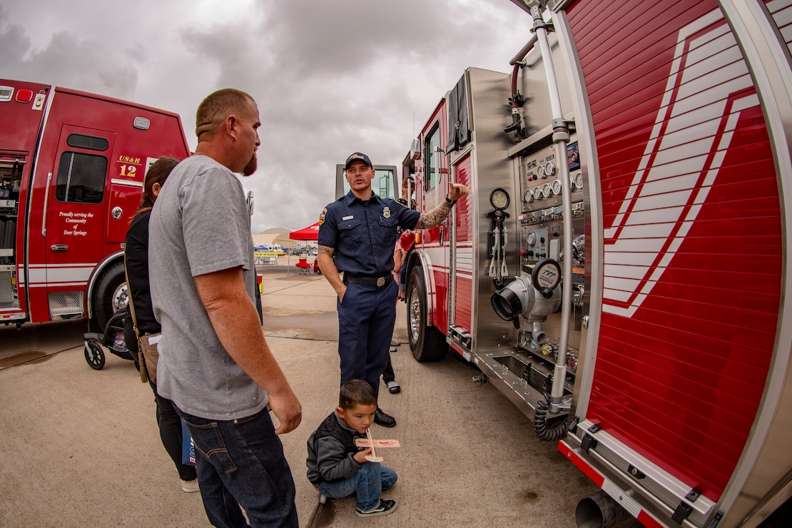 Southern California fire departments demonstrate their capabilities at the 2019 Marine Corps Air Station Miramar Air Show on MCAS Miramar, Calif., Sept. 27. This year's air show honors first responders by featuring several performances and displays that highlight first responders and their accomplishments.