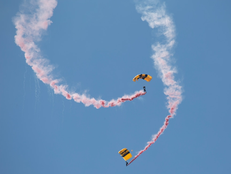 The Golden Knights conduct a demonstration at the 2019 Marine Corps Air Station Miramar Air Show on MCAS Miramar, Calif., Sept 28. This year's air show honors first responders by featuring several performances and displays that highlight first responders and their accomplishments.