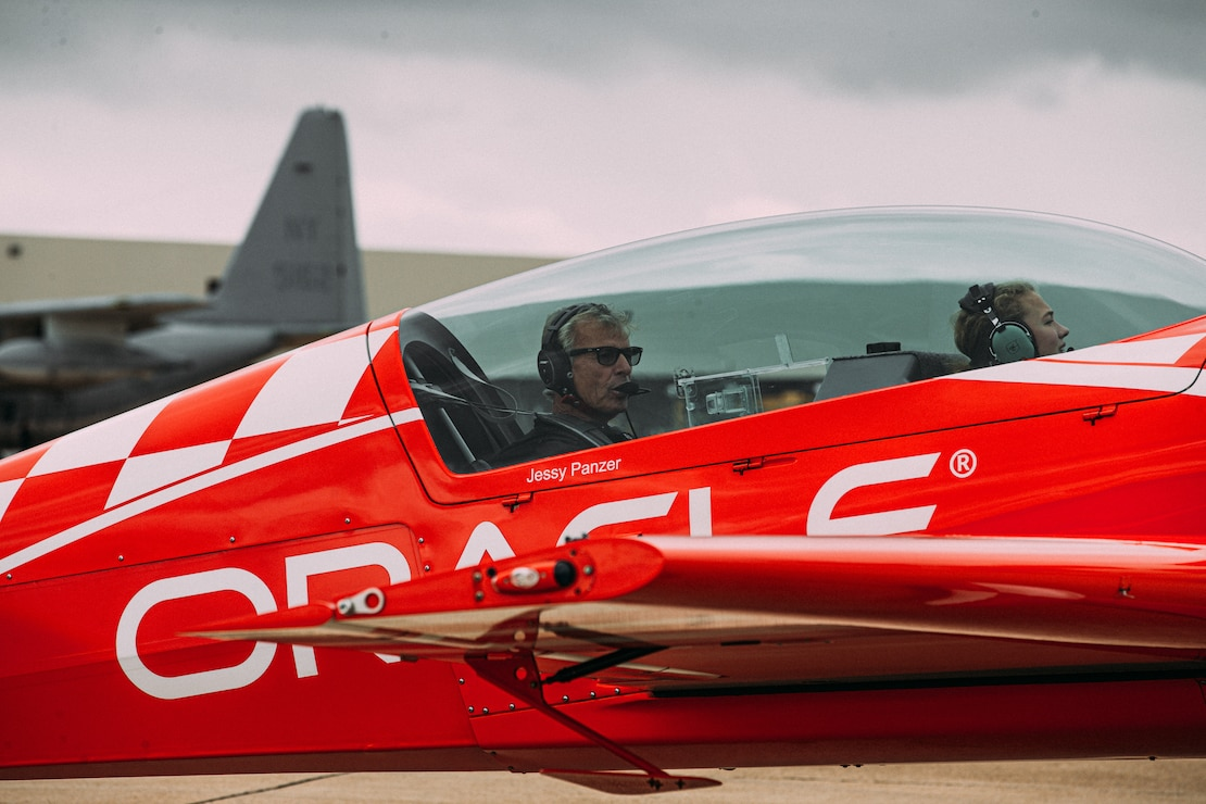 Members of Team Oracle take off to the sky at Marine Corps Air Station Miramar, Calif., Sept. 26. The team was doing a routine practice run before the 2019 airshow on Sept. 27 through Sept. 29.