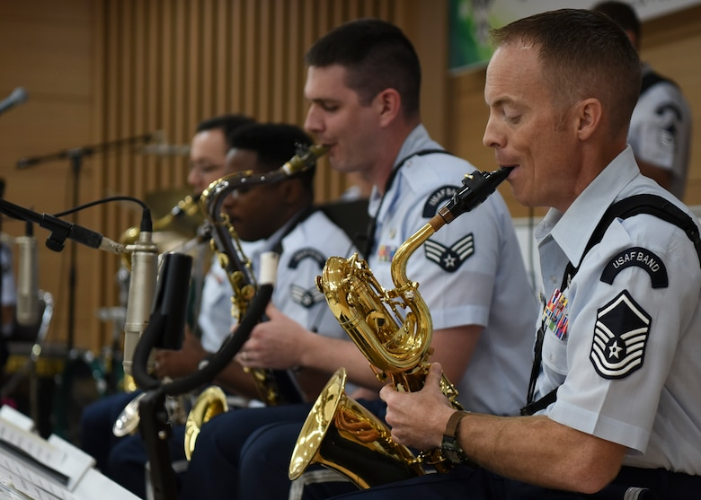 U.S. Air Force Band of the Pacific members play for the Gunsan Korean National Police in Gunsan City, Republic of Korea, Sept. 24, 2019. The Pacific Showcase jazz ensemble performed in front of a crowd of 130 officers and their families. (U.S. Air Force photo by Staff Sgt. Anthony Hetlage