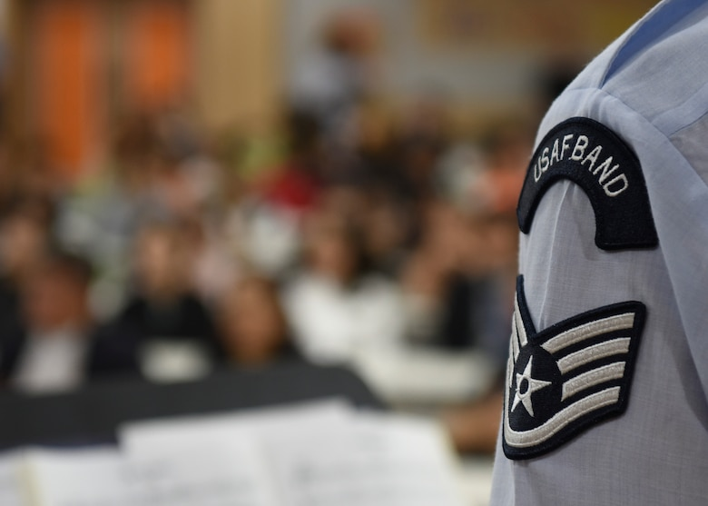 A U.S. Air Force Band of the Pacific member plays for the Gunsan Korean National Police in Gunsan City, Republic of Korea, Sept. 24, 2019. The band is stationed in Yokota Air Base, Japan and plays around 200 shows per year. (U.S. Air Force photo by Staff Sgt. Anthony Hetlage)