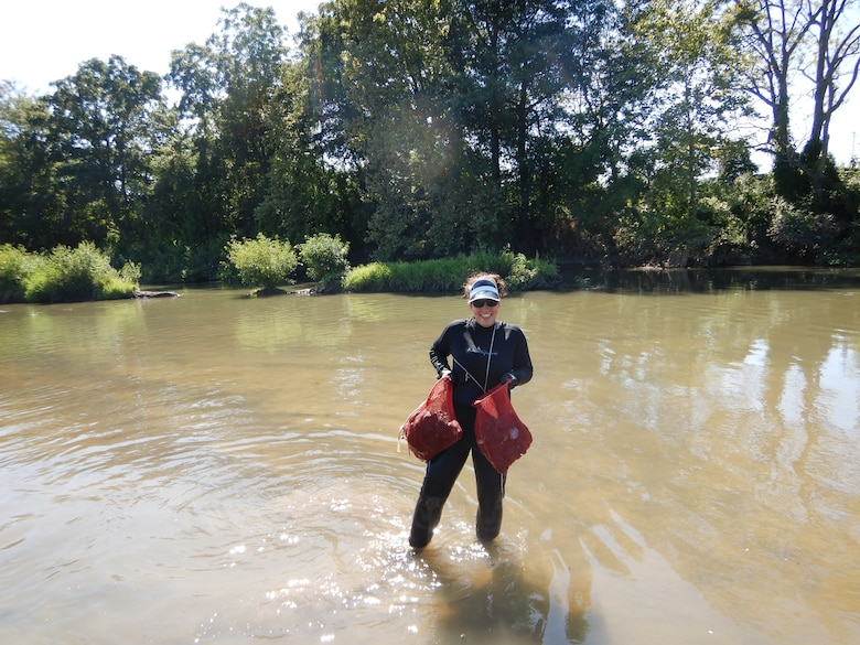 Memphis District Biologist Andrea Carpenter Crowther collecting samples.