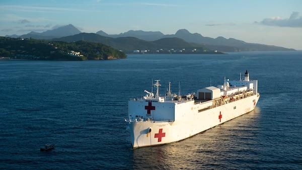 The hospital ship USNS Comfort anchored off the coast of Castries, Saint Lucia.