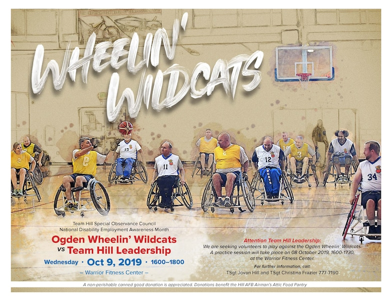 Flyer to promote the 11th annual Wheelin' Wildcats wheelchair basketball game will take place Oct. 9 at 4 p.m. at the Warrior Fitness Center basketball court.