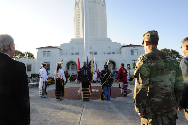 Members of the Joint Base San Antonio-Randolph American Indian Heritage Committee carry out a flag ceremony during the celebratory observation of Texas American Indian Heritage Day at JBSA-Randolph, Texas, Sept. 27, 2019. American Indian Heritage Day in Texas, signed into law in 2013, recognizes historical, cultural and social contributions of American Indian communities and leaders of Texas.