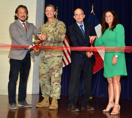 Joint Base San Antonio officials and representatives from Microsoft marked the start of a new technology career training program geared towards military spouses known as the Microsoft Military Spouse Technology Academy at a ribbon cutting at JBSA-Fort Sam Houston Military & Family Readiness Center Sept. 27. Cutting the ribbon are (from left) Danny Chung, Microsoft military affairs chief of staff; Col. Peter Velesky, JBSA and 502nd Air Base Wing deputy commander; retired Maj. Gen. Chris Cortez, Microsoft vice president of military affairs; and Elizabeth O'Brien, U.S. Chamber of Commerce senior director of Hiring Our Heroes Military Spouse Program.