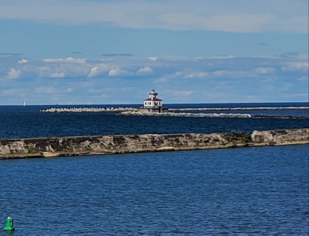 The finished repairs of the Oswego Harbor W. Arrowhead breakwater