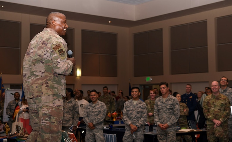 Col. Devin Pepper, 460th Space Wing commander offers opening remarks, Sept. 26, 2019, on Buckley Air Force Base, Colo. Diversity Day provided an opportunity to explore and celebrate the accomplishments and cultures of a diverse military force. (U.S. Air Force photo by Senior Airman Michael D. Mathews)