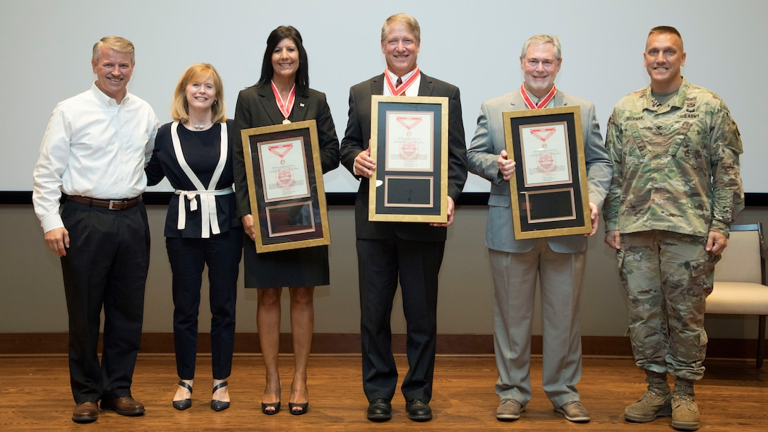 Three U.S. Army Engineer Research and Development Center executive staff members receive de Fleury Medals