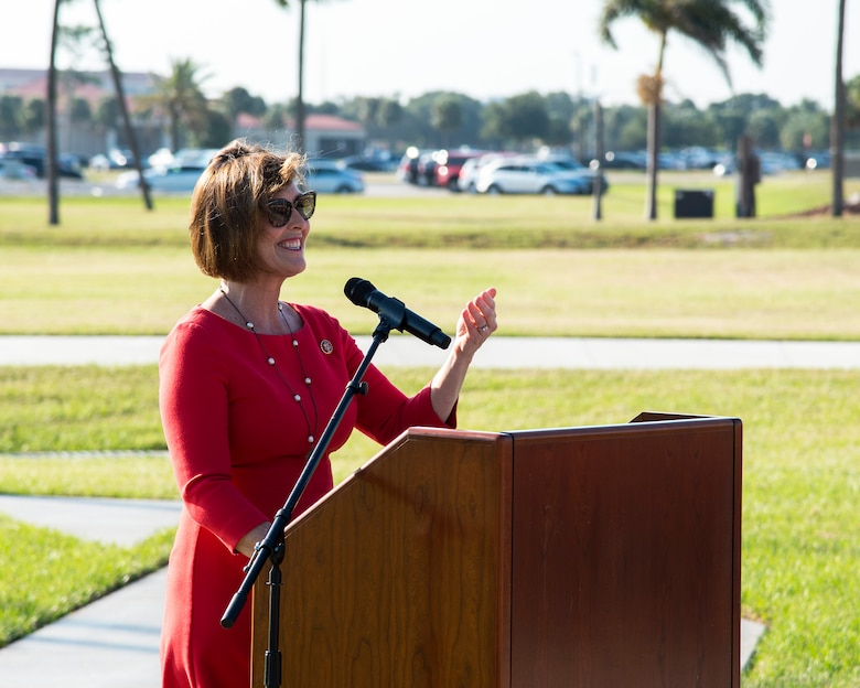 Congresswoman Kathy Castor, Florida's 14th congressional district representative, speaks at the 6th Air Refueling Wing redesignation ceremony at MacDill Air Force Base, Fla., Sept. 30, 2019.