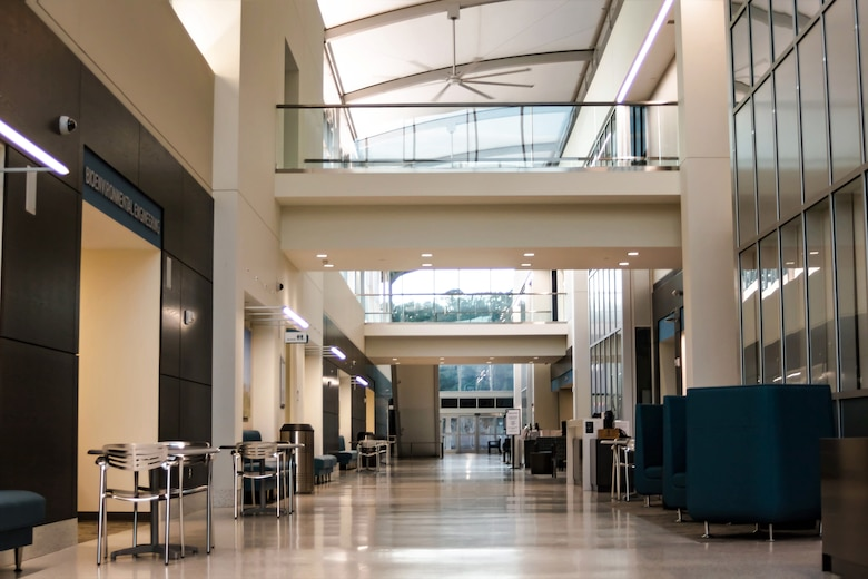 The design of the Thomas Koritz Clinic at Seymour Johnson Air Force Base includes large areas of shaded glass for natural lighting and views of the green campus. Courtesy photo.