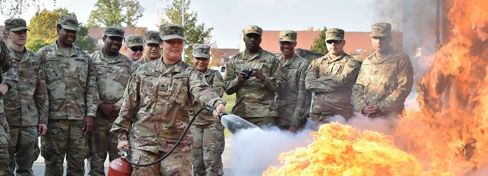 U.S. Soldiers with various units receive hands-on training during the Combined Arms Training Center's Hazardous Material Drivers Training Course at Rose Barracks Fire Department, Vilseck, Germany, Oct. 18, 2018. The course covers the duties and responsibilities of the vehicle operator for safe and legal transport of bulk hazardous materials over European roads. (U.S. Army photo by Gertrud Zach)
