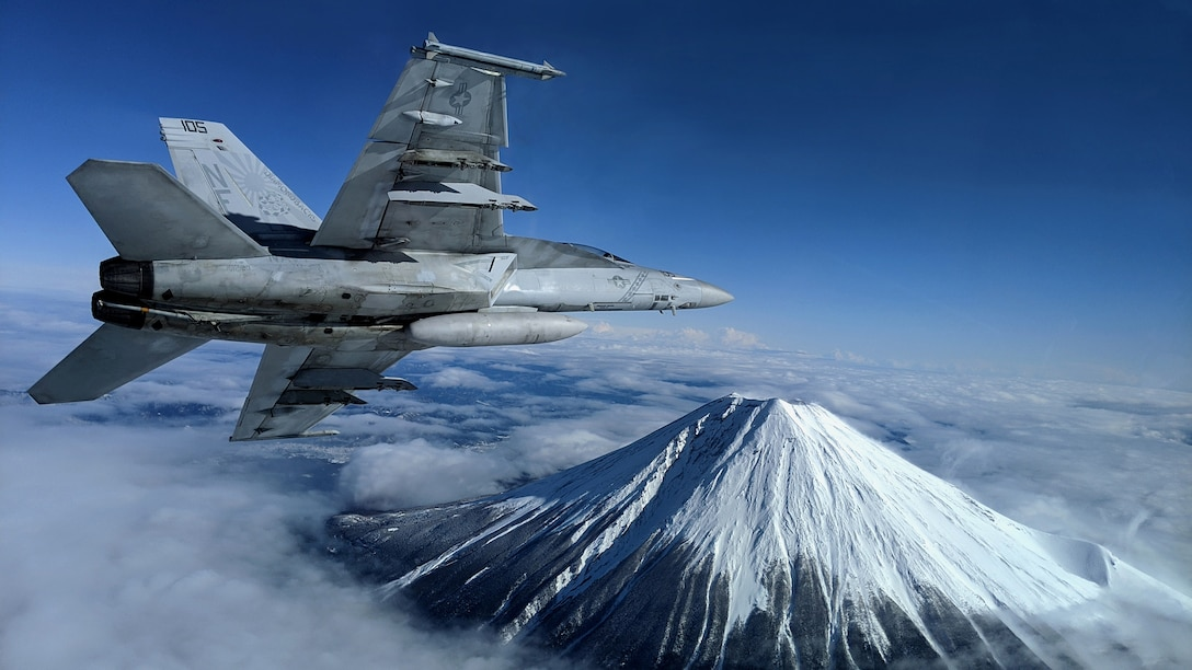 """F/A-18F Super Hornet assigned to """"Diamondbacks"""" of Strike Fighter Squadron, attached to Carrier Air Wing 5102, conducts flight operations, Atsugi, Japan, January 29, 2020 (U.S. Navy/Alex Grammar)"""