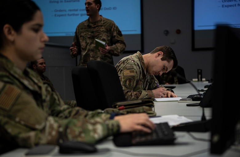 Subject matter experts from across Ramstein Air Base attend an Operational Planning Team meeting March 24, 2020.