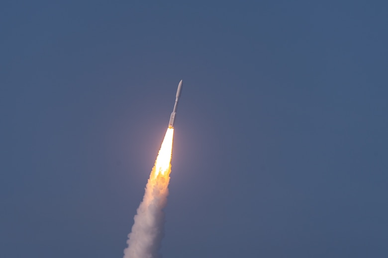 An Atlas V AEHF-6 rocket successfully launches from Space Launch Complex-41 at Cape Canaveral Air Force Station, Fla., March 26, 2020. The launch of the AEHF-6, a sophisticated communications relay satellite, is the first Department of Defense payload launched for the United States Space Force. (U.S. Air Force photo by Joshua Conti)