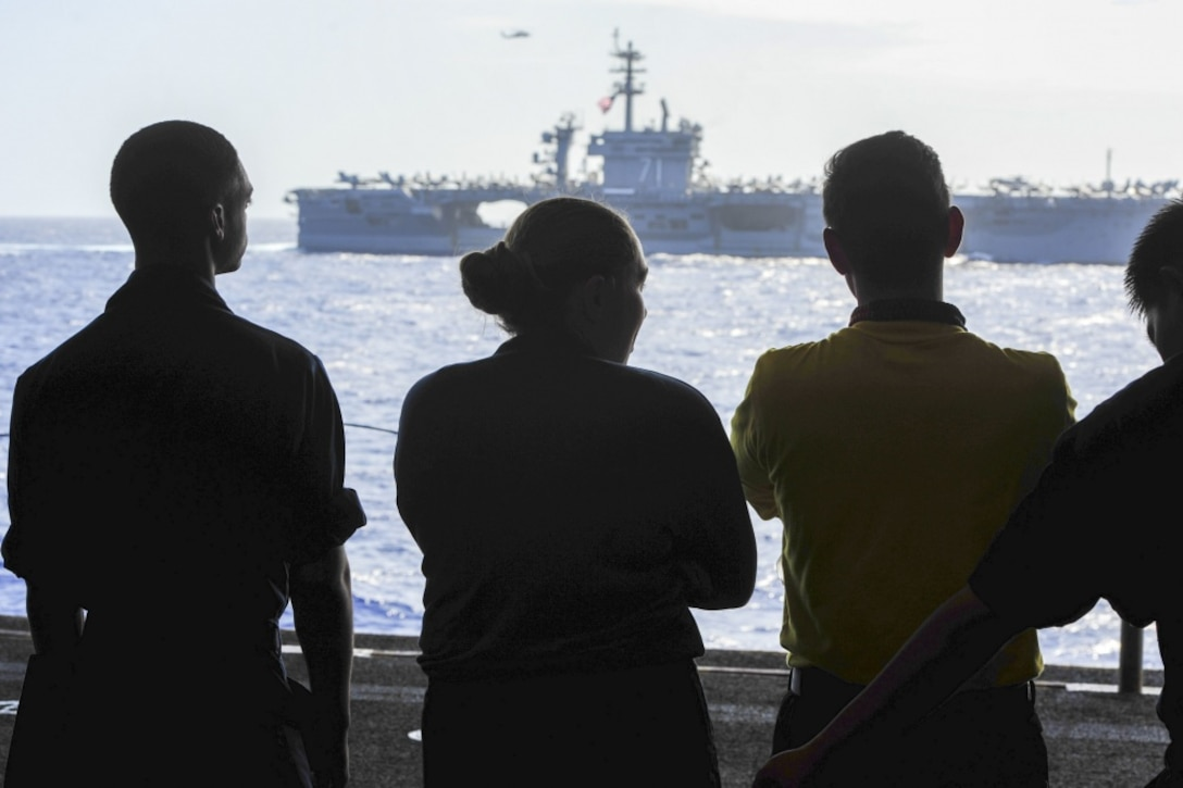 Navy and Marine Corps ships on exercise.