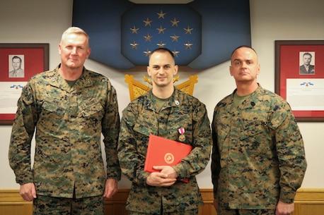 A Marine is awarded at MARFORK
