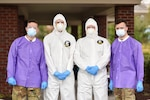 (Left to right) Sgt. Jacob Winton, Cpl. Justin Chambers, Spc. Austin Barnett, Spc. Jason Bahr, at a COVID-19 remote testing site in Putnam County, Tennessee, March 27. At the request of Bill Lee, 250 Soldiers and Airmen from the Tennessee National Guard have volunteered to provide support in response to the COVID-19 pandemic.