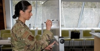 Maj. Michelle Mastrobattista, 157th Medical Group, plans medical actions in support of the Coronavirus pandemic.