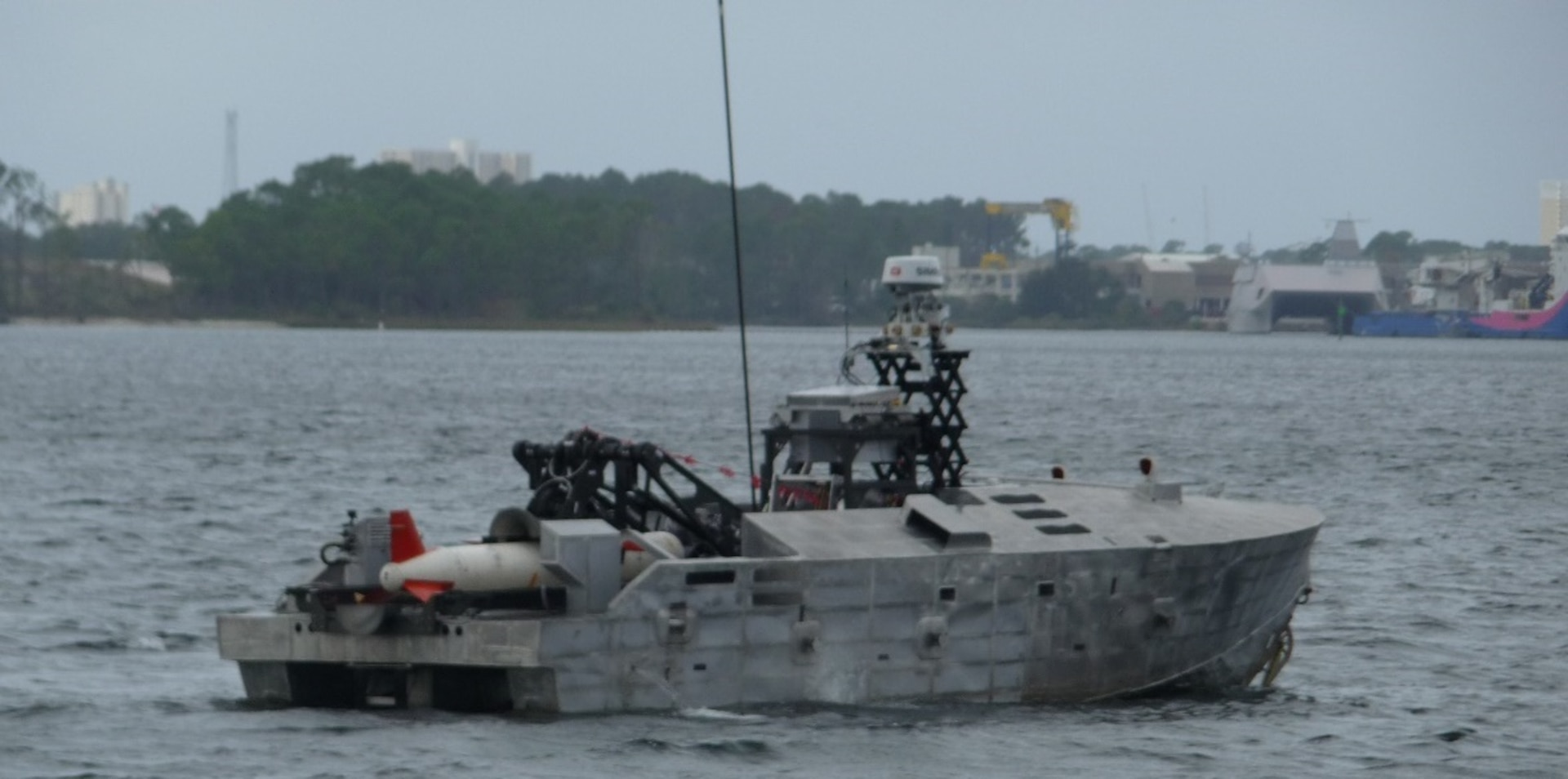 The Mine Countermeasure Unmanned Surface Vehicle project team conducts underway missions in support of contractor testing at the Naval Surface Warfare Center Panama City Division.