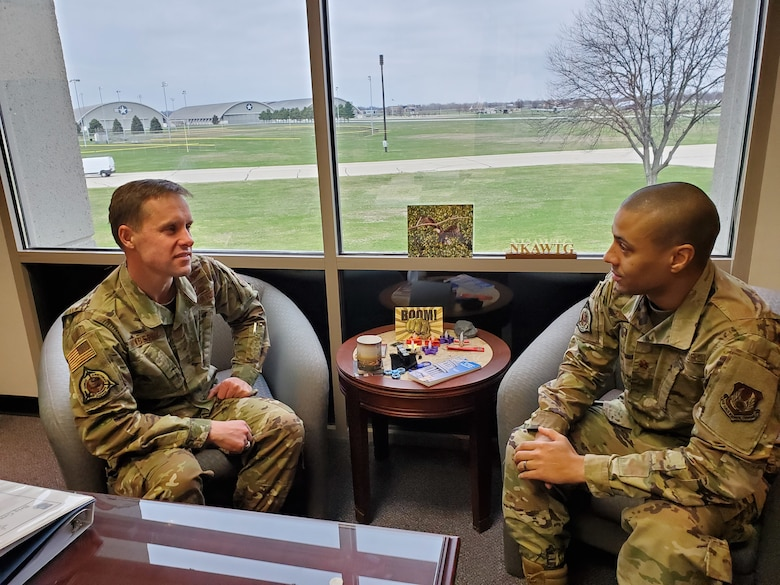 Brig. Gen. John Newberry (left), Program Executive Officer for the Tanker Directorate, confers with Maj. Larry Fairchild, Chief of the Tanker PEO Execution Group. (U.S. Air Force photo / Brian Brackens)