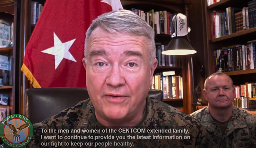 U.S. Marine Corps Gen. Kenneth F. McKenzie Jr., commander, U.S. Central Command, addresses updated command measures in response to COVID-19.