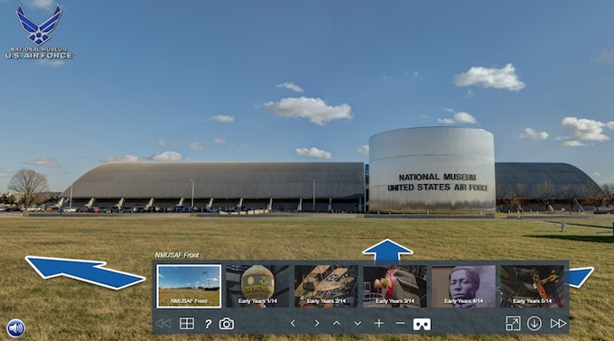 Picture of the Virtual Tour navigation pane with a picture of the museum in the background.