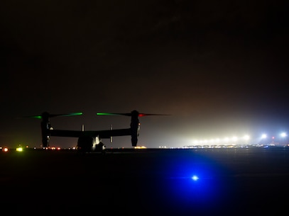 A U.S. Marine Corps MV-22 Osprey with Special Purpose Marine Air-Ground Task Force-Crisis Response-Africa 20.1, Marine Forces Europe and Africa, prepares for take off during external lift training at Morón Air Base, Spain, March 25, 2020. Marines conducted the training to increase helicopter support team proficiency by expeditiously moving cargo and equipment. SPMAGTF-CR-AF is deployed to conduct crisis-response and theater-security operations in Africa and promote regional stability by conducting military-to-military training exercises throughout Europe and Africa. (U.S. Marine Corps photo by Cpl. Nello Miele)