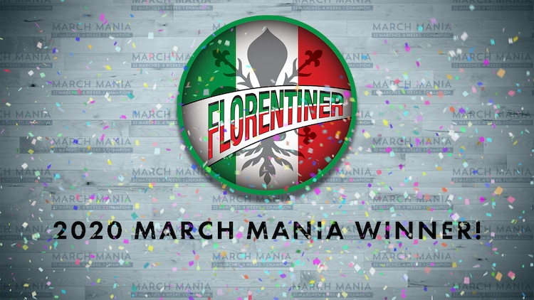"From a list of 32 marches, the competition came down to a pair of marches by Julius Fucik, the ""Czech March King."" In a close fight to the finish, Florentiner was crowned the 2020 Sousa's March Mania Champion, beating Entry of the Gladiators 4,911 to 4,454!"