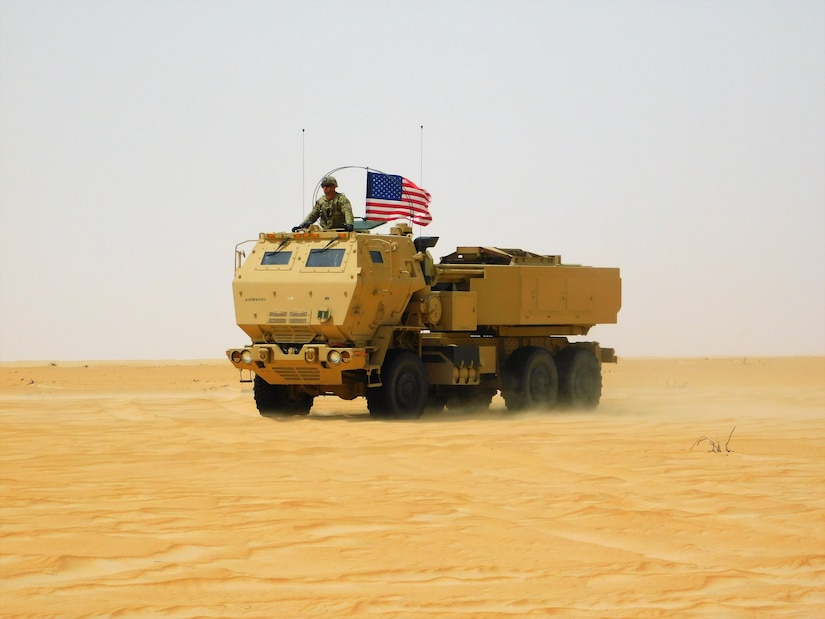 U.S. Army, U.S. Marines, and UAE Armed Forces conduct a bilateral live fire exercise utilizing American and Emirate High Mobility Artillery Rocket System (HIMARS) launchers at Al Hamra Combat Training Center, United Arab Emirates, March 16 to the 24th, 2020. Iron Union 13 is an FTX culminating into a combined arms live fire exercise (CALFX) with one U.S. Company/Troop, integrated fires and one UAELF Reconnaissance company in UAE. Participating UAE and U.S. forces are tasked organized into a single combined battalion level task force for operations. The combined battalion level task force establishes an integrated command post staffed with officers from both nations.