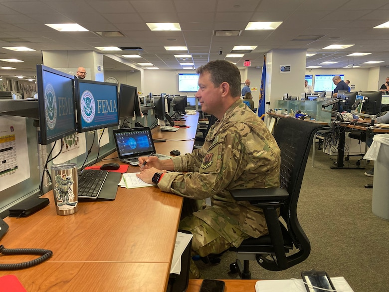 Image or Lt. Col. Michael Eldridge, an Emergency Preparedness Liaison Officer (EPLO) from Alaska, working in FEMA's National Response Coordination Center in Washington, D.C.
