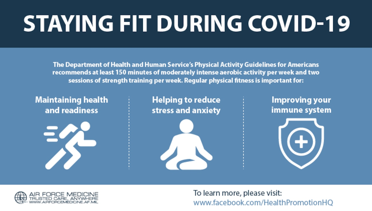 The Department of Health and Human Service's Physical Activity Guidelines for Americans recommends at least 150 minutes of moderately intense aerobic activity per week and two sessions of strength training per week. (U.S. Air Force graphic)