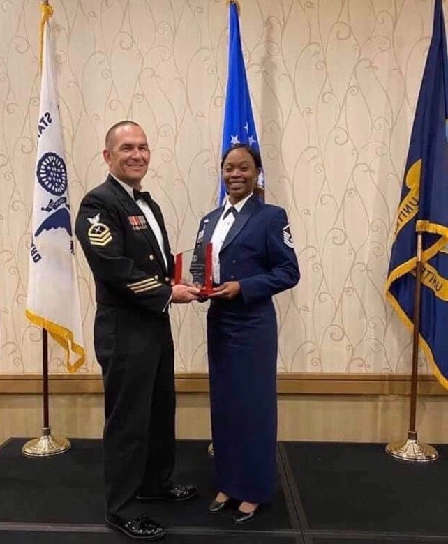 Master Sgt. Cary Ann Thomas, 628th Contracting Squadron contingency cell section chief, receives the Spirit of the Chief Award, the Coast Guard's equivalent to the John Levitow Award in Petaluma, California, Feb. 28, 2020.