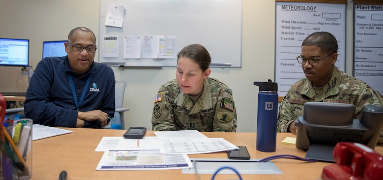 A team of the Delaware National Guard Airmen and Soldiers in partnership with the U.S. Army Corps of Engineers Philadelphia District, work with the Delaware Emergency Management Agency to provide support to the COVID-19 pandemic planning efforts, at the DEMA headquarters, Smyrna, Del., March 27, 2020. (U.S. Army National Guard (Photo by Sgt. Laura Michael.)