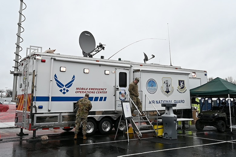 The Mobile Emergency Operations Center serves as a central command, communications and control center designed to support and facilitate emergency management as well ensure flow of communication during an emergency. The MEOC is usually deployed during a natural disaster or a state of emergency. (U.S. Air National Guard photo by Staff Sgt. Enjoli Saunders)