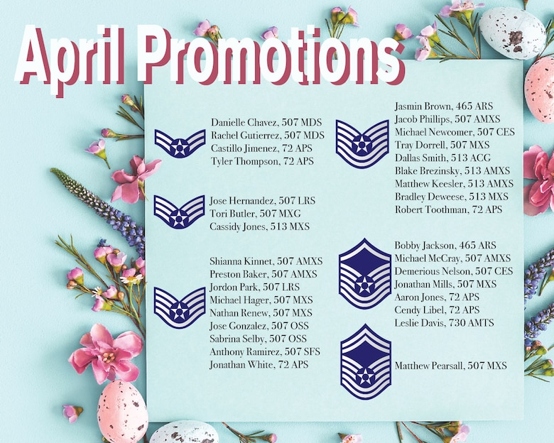 Promotions from the 507th Air Refueling Wing enlisted ranks April 3, 2020, at Tinker Air Force Base. (U.S. Air Force graphic by Senior Airman Mary Begy)