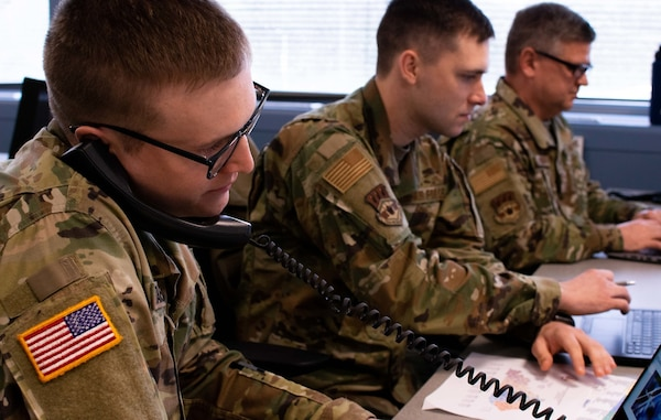 Kentucky National Guard Soldiers and Airmen augment the COVID-19 Call Center to manage data collection and case management March 31, 2020.