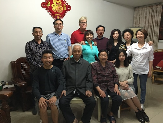 131st Bomb Wing Director of Psychological Health Dan Shea (back row, third from left) poses for a photo with his extended family members in Chongqing, China (Courtesy photo).