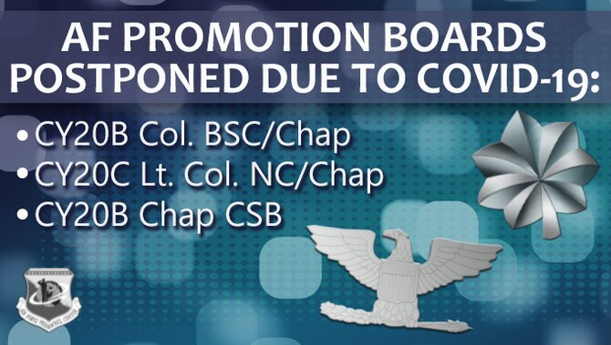 Graphic depicting Air Force Promotion Boards postponed due to COVID-19: CY20B Col. BSC/Chap, CY20C Lt. Col. NC/Chap, CY20B Chap CSB.