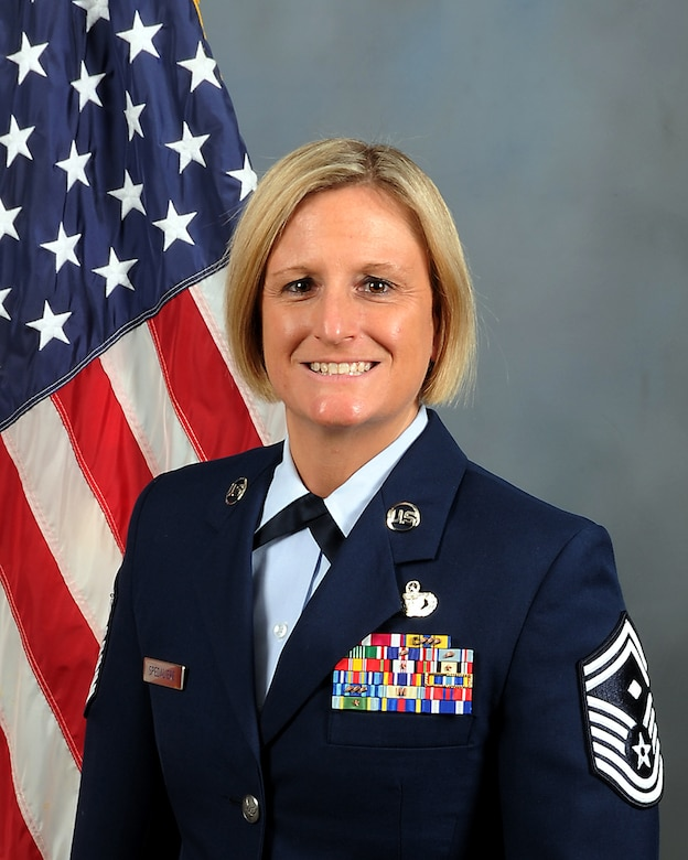Air Force Reserve Command's Outstanding First Sergeant of the Year is Senior Master Sgt. Rebekah J. Spedaliere, 514th Air Mobility Wing, Joint Base McGuire-Dix-Lakehurst, New Jersey. (U.S. Air Force photo)
