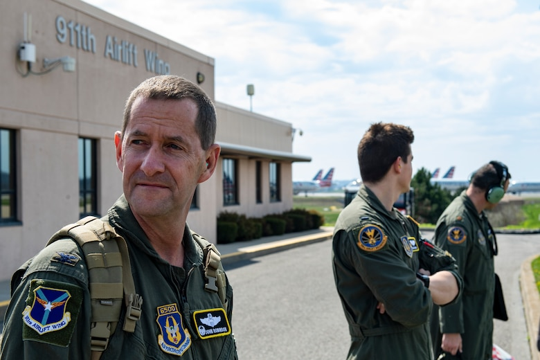 Col. John F. Robinson, 911th Airlift Wing commander, and other aircrew members prepare to transport mobilized Airmen to Joint Base Mcguire-Dix-Lakehurst, New Jersey in support of the COVID-19 efforts from the Pittsburgh International Airport Air Reserve Station, Pennsylvania, April 5, 2020.