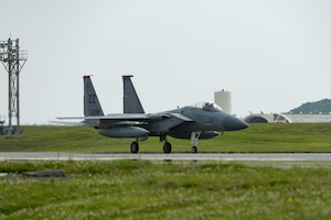 An F-15C Eagle taxis on Kadena Air Base, Japan, April 3, 2020.  Both the 44th and 67th Fighter Squadrons at Kadena AB play a unique role in securing peace and stability in a free and open Indo-Pacific with their F-15C capabilities. (U.S. Air Force photo by Senior Airman Matthew Seefeldt)