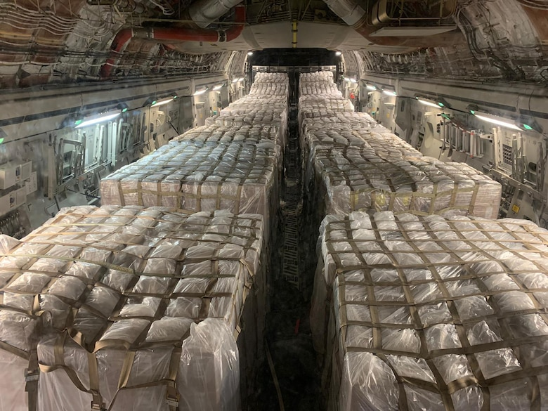 Eighteen pallets filled with more than 970,000 swab kits from Aviano, Italy are flown to Memphis, Tennessee for distribution to various locations to be used for testing of the Coronavirus April 4, 2020. (Courtesy Photo)