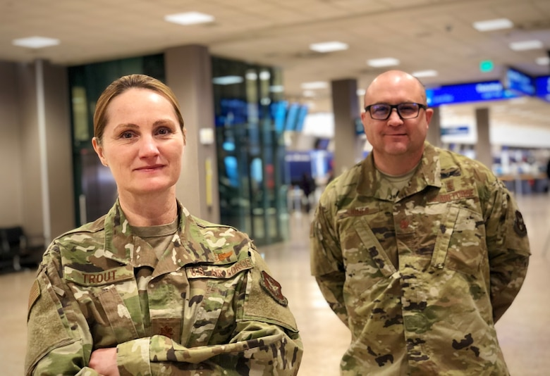 Maj. Katherine Trout and Maj. Jimmy Jones, reservists in the 419th Medical Squadron, are part of a small group of Airmen who left from the Salt Lake City airport today for the New York City area to help with COVID-19 response