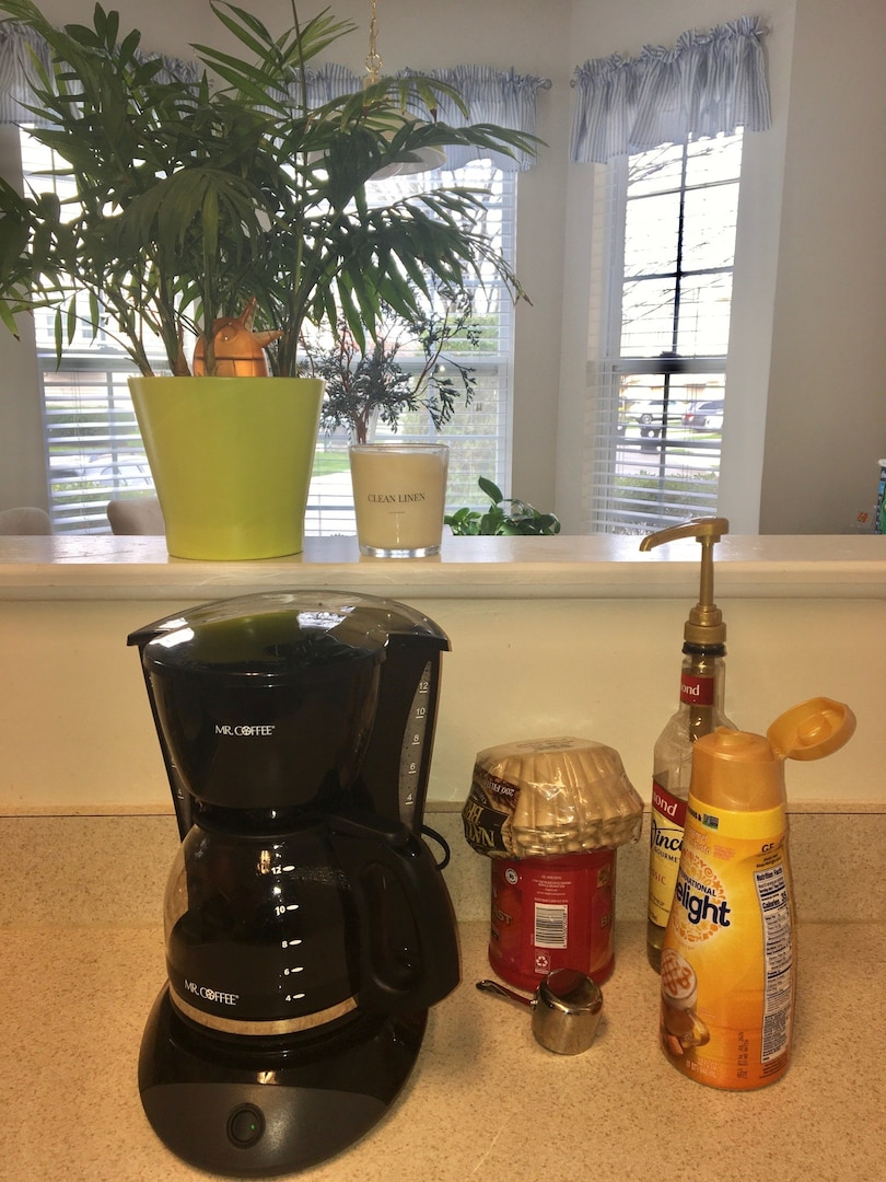 Melody Arnold, a DLA Troop Support Audit Readiness and Compliance business process analyst, set up a coffee station to remind her of habits she would do at the office April 3, 2020.