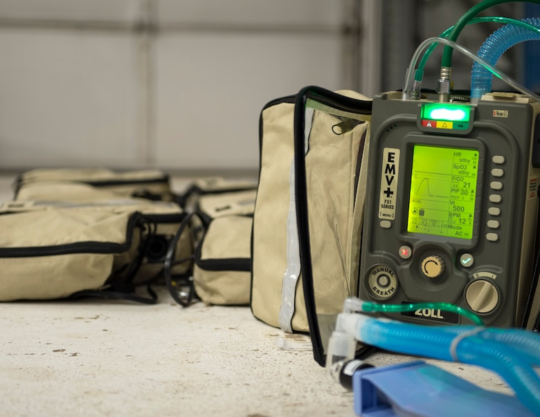 The Zoll 731 Ventilators from the 133rd Airlift Wing sit on the ground after an inventory check in St. Paul, Minn., Mar., 19, 2020.