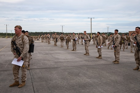 U.S. Marines with 2nd Light Armored Reconnaissance Battalion, 2nd Marine Division, II Marine Expeditionary Force, stand in formation to be pre-screened for the coronavirus disease on Marine Corps Air Station Cherry Point, N.C., March 30, 2020. II Marine Expeditionary Force is following the guidelines set by the Centers for Disease Control and Prevention and the Department of Health and Human Services to take the necessary precautions to protect redeploying service members and mitigate the spread of the coronavirus outbreak. (U.S. Marine Corps photo by Lance Cpl. Scott Jenkins)
